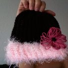 Cholocate Hat with Fuzzy Pink Rim and Fuschia Flower