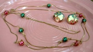 Wirework Bead 47 inches Necklace Enamel Earrings Fuchsia Green Jewelry