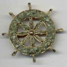 Green Adventurine Chip Ship Wheel Brooch Jewelry