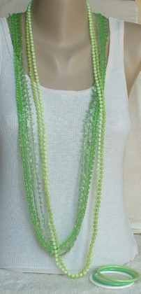 Lots of Green--Two Vintage Necklaces and 3 bracelets -- VintageCornerStore