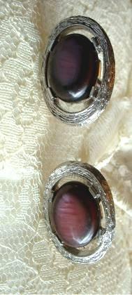 Faux Amethyst Cufflinks Large Cabochons Vintage