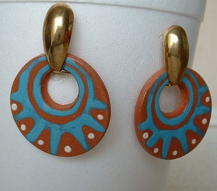 Hand-Crafted Ceramic Earrings Aztec style Debbie Brown Jewelry