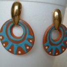 Brown Debbie Hand-Crafted Ceramic Earrings Aztec Style Jewelry