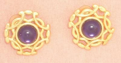 Stunning Paolo (Pierre Carden) Amethyst Cab Earrings Post Jewelry