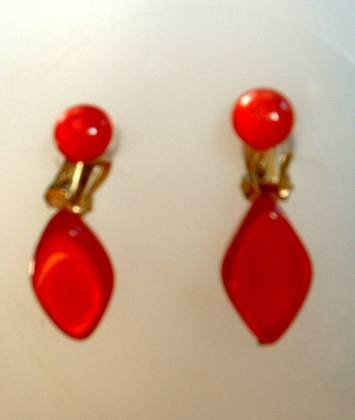 Vintage Red Lucite Moonglow Dangle earrings Japan