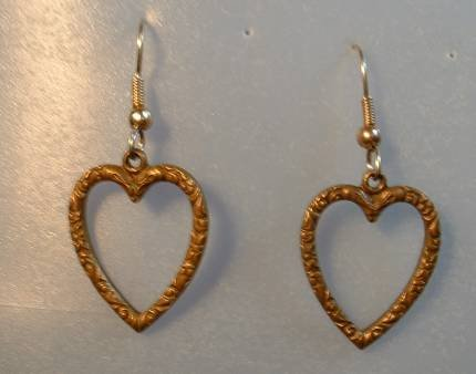 Brass Heart Dangle Earrings Art Nouveau Style Vintage Jewelry