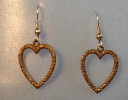 Vintage Brass Heart Dangle Earrings Art Nouveau Style