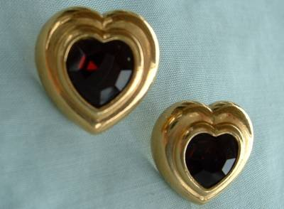 Deep Ruby Red Glass Heart Shaped Earrings Sweetheart Jewelry