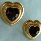 Deep Ruby Red Rhinestones Heart Post Earrings Exquisite