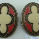 Brass Cloisonne Enamel Earrings Stylistic Cross Vintage Jewelry