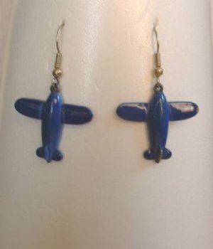 Blue Enamel Airplane Dangle Earrings Vintage Jewelry