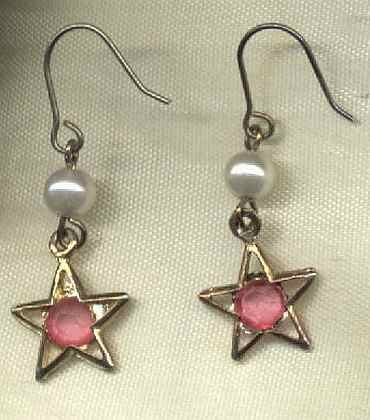 Pink Rhinestone Pearl Star Dangle Earrings