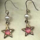Pink Rhinestone Pearl Star Dangle Earrings