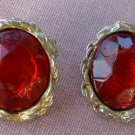 Ruby Red Faceted Glass Earrings Post Style Vintage Jewelry
