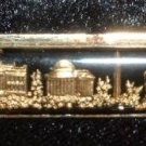 Vintage Reverse Carved Lucite Intaglio Tie Clasp Gold Buildings