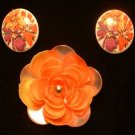 Vintage Lucite Brooch & Ears Orange Floral