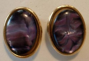Purple Swirl MOP-Style  Post Earrings Amethyst Colored Jewelry