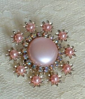 Pink Dress Clip AB Rhinestones Vintage Jewelry