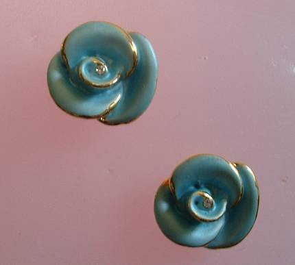 Blue Enamel Rhinestone Flower Post Style Earrings Floral Jewelry