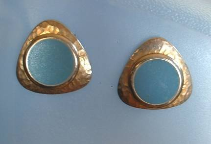 Blue Enamel Goldtone Post Modernist Earrings