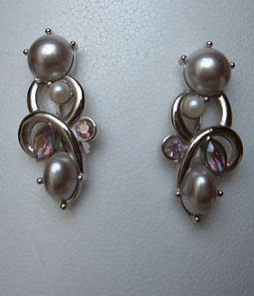 Marvella maybe Faux Pearl AB Marquis Rhinestone Earrings Vintage Jewelry