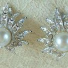 Sunrise faux Pearl and Rhinestone Clip-On Earrings Vintge Jewelry