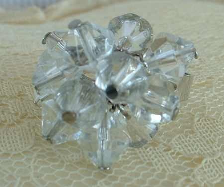 Zany Faceted Glass Bicone Crystal Ring Adjustable Vintage Jewelry