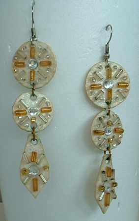 Rhinestone Bead Dangle Earrings Art Deco Style Vintage Jewelry