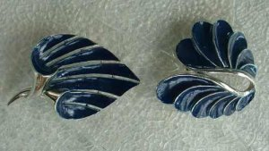 Pair Two Blue Enameled Modernist Brooch Cala Lily Jewelry
