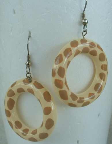 Celluloid Yellow Brown Leopard-Spot HOOP EARRINGS Jewelry