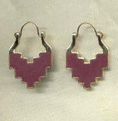 Aztec Tribal Style Earrings Maroon Plum Enamel Jewelry