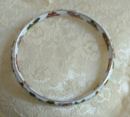 Cloisonne Bangle Bracelet Vintage Floral Jewelry