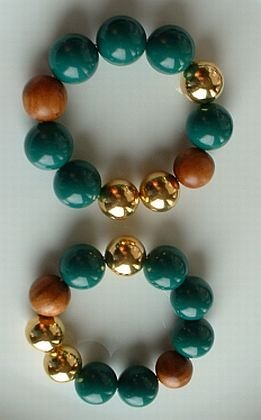 Pair 2 Large Chunky Bead Expansion Bracelets Green Brown Goldtone