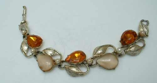 Vintage Topaz Rhinestone and Beige Thermoset Link Bracelet Jewelry