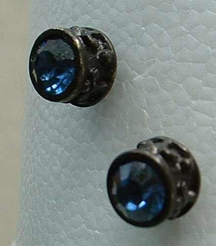 Blue Sapphire Rhinestone Japanned Stud Earrings Jewelry