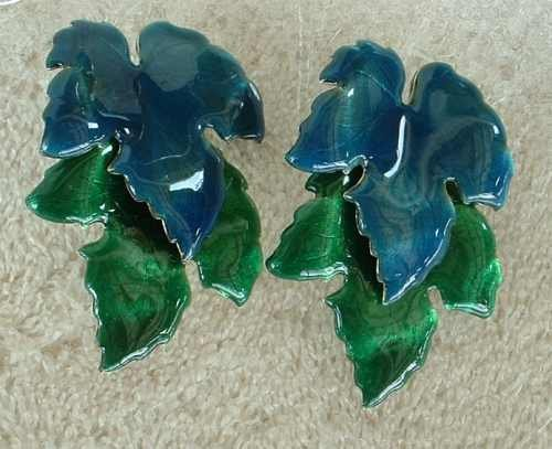 Large Jacarri BLUE and GREEN Articulated Post DANGLE EARRINGS