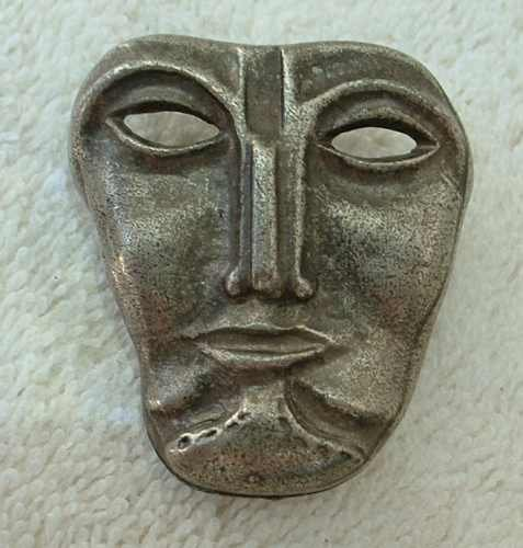Unusual Pewter Mask Brooch Gothic Jewelry