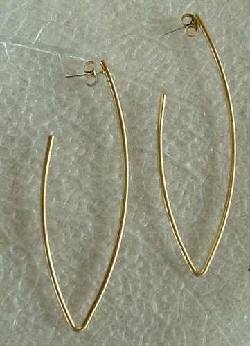 'V' Shaped Hoop Earrings Post Style