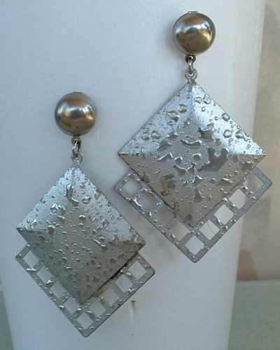 Silver Splatter Enamel Dangle Earrings Post Style Vintage Jewelry