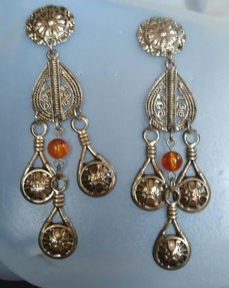 Openwork Earrings Post Style Shoulder Dusters Amber Bead Jewelry