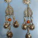 Openwork Earrings Post Style Shoulder Dusters Amber Bead Jewelry