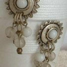 Egyptian Revival White Bead Dangle Earrings Post Jewelry