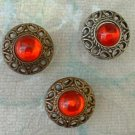 3 Vintage Ruby Red Moonglow Button Covers