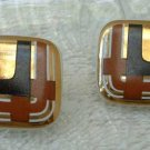 Retro Art Deco Black Brown Copper Ceramic Post Style Earrings Vintage Jewelry