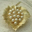 Pearl Studded Leaf Brooch Designer Quality Jewelry