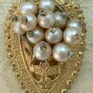 Victorian Faux Pearls Brass Dress Clip Vintage Jewelry