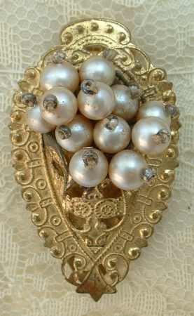 Victorian Faux Pearls Brass Dress Clip Vintage Jewelry