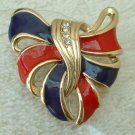 Red Blue Ribbons Rhinestone Shield Brooch Designer Quality