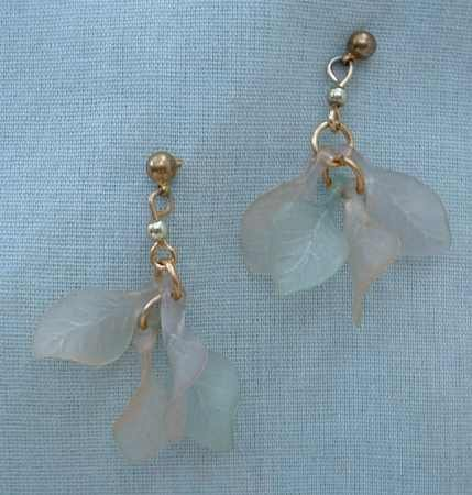 Molded Lucite Leaf Dangle Earrings Vintage Jewelry