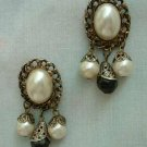 Faux Pearls Black Enamel Rhinestones Japanned Dangle Post Vintage Earrings